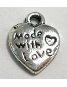 Подвеска металлическая Made with love. Цвет черненое серебро