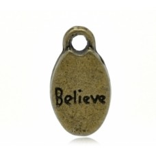 Подвеска металлическая Believe. Цвет бронза
