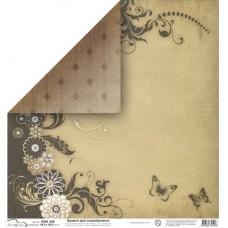 Бумага для скрапбукинга двусторонняя Цветы и бабочки