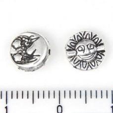 Бусина металлическая на одной  стороне - луна, на другой - солнце