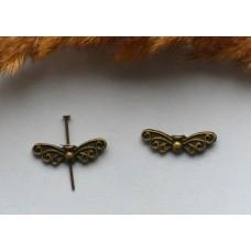 Бусина металлическая Бабочка 22*6 мм. Цвет бронза