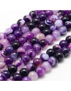 Бусины каменные агат полосатые фиолетовые 8 мм
