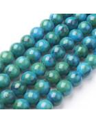 Бусины каменные нефрит зелено-голубые. 10 мм
