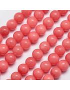 Бусины каменные нефрит коралловые. 10 мм