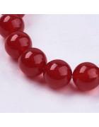 Бусины каменные нефрит насыщенно-красные. 10 мм