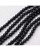 Бусины каменные нефрит черные. 6 мм