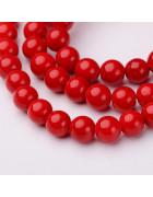 Бусины каменные нефрит красные. 6 мм