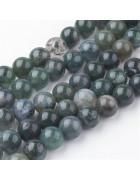 Бусины каменные агат темно-зеленые. 8 мм