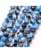 Бусины каменные агат черно-голубые граненные. 6 мм