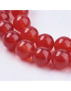 Бусины каменные нефрит темно-красные. 8 мм