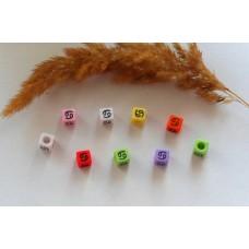 Бусины квадратные цветные со знаками зодиака. Рак