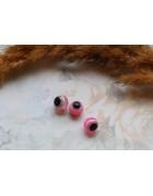 Бусины пластиковые глазки розовые. 10 мм