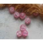 Бусины кракле розовые. 10 мм