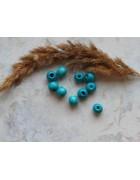 Бусины деревянные насыщенно-голубые. 10*9 мм