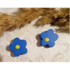 Бусина деревянная Цветок синяя 15 мм