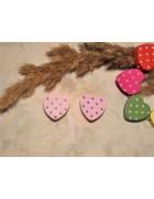Бусина деревянная сердечко розовое 17 мм