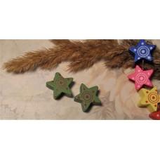 Бусина деревянная Звезда зеленая 15 мм