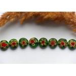 Стеклянные бусины бусины миллефиори зеленые 12 мм