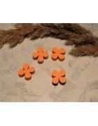 Бусина деревянная Лист клевера оранжевая 13*4 мм