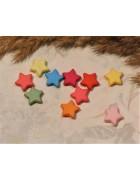 Бусины пластиковые звездочки разноцветные 9 мм. 10 шт