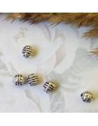 Бусины металлические круглые с узором 5 мм. Цвет черненое серебро