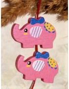Бусина деревянная Слон ярко-розовая