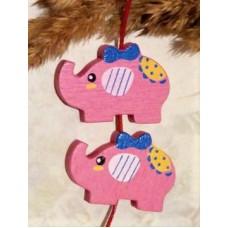 Бусина деревянная Слон ярко-розовая 30*21 мм