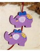 Бусина деревянная Слон фиолетовая