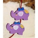 Бусина деревянная Слон фиолетовая 30*21 мм