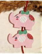 Бусина деревянная Слон бледно-розовая
