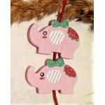 Бусина деревянная Слон бледно-розовая 30*21 мм
