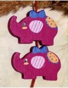 Бусина деревянная Слон темно-малиновая