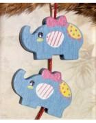 Бусина деревянная Слон голубая