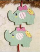 Бусина деревянная Слон мятная