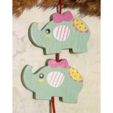 Бусина деревянная Слон мятная 30*21 мм