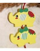Бусина деревянная Слон желтая