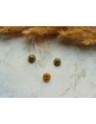 Стеклянные бусины миллефиори круглые темно-желтые. 8 мм