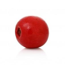 Бусина деревянная круглая глянцевая красная 10*9 мм
