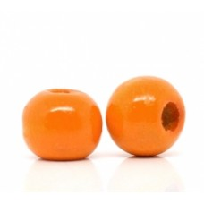 Бусина деревянная круглая глянцевая оранжевая 10*9 мм