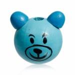 Бусина деревянная круглая Мишка темно-голубой 28*24 мм