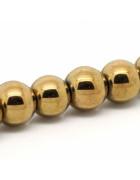 Бусины каменные гематит золотистые 8 мм