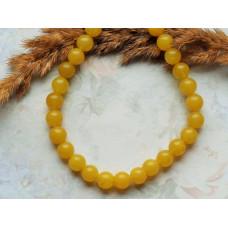 Бусины каменные  агат желтые 8 мм