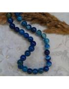 Бусины каменные агат насыщенно-синие 8 мм