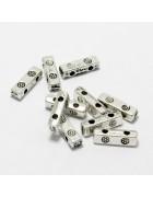 Бусины металлические  держатели для двух нитей прямоугольные. Цвет черненое серебро
