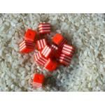 Бусины пластиковые полосатики квадратные бело-оранжевые