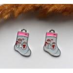 Подвеска с эмалью Рождественский носок
