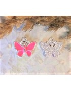 Подвеска с эмалью Бабочка серебристая