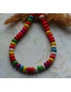 Бусины каменные бирюза разноцветные микс в форме таблетки. 5 шт