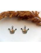 Подвеска металлическая Корона принцессы. Цвет черненое серебро