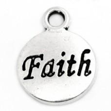 Подвеска металлическая Faith Вера. Цвет черненое серебро